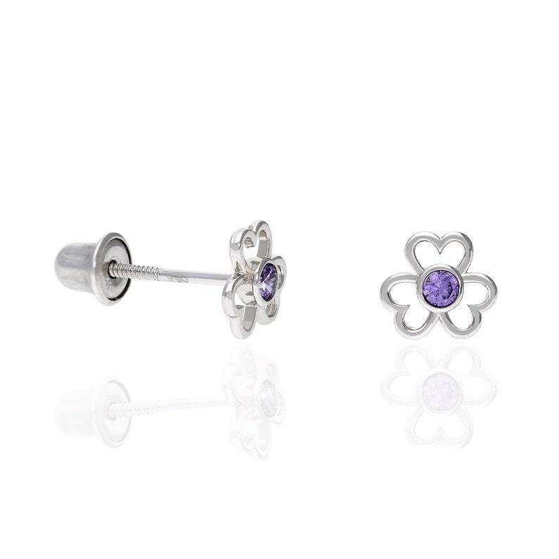 Flower Stud Simulated Amethyst Gemstone Earrings 14k White Gold Over Sterling Silver