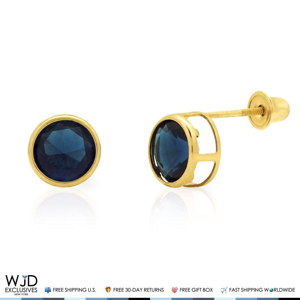 0.70 Ct Round Cut Created Blue Sapphire /& Simulated Diamond Flower Stud Earrings 10K Yellow Gold