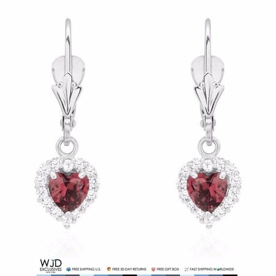 1Ct Created Diamond /& Alexandrite 14K Yellow Gold Heart Dangle Earrings