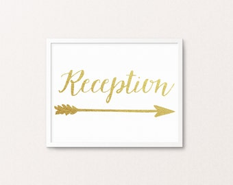 8x10 Gold Foil Wedding Reception sign