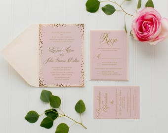 Pink and Gold Wedding Invitation Package