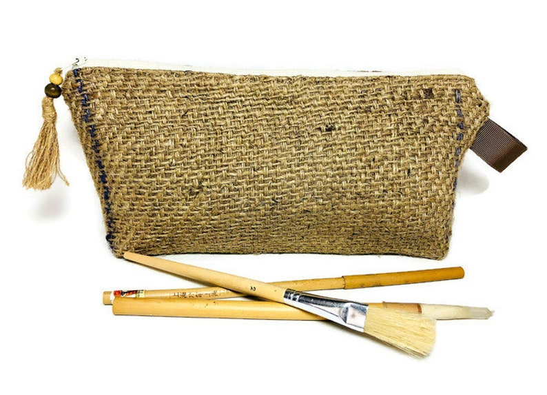 Re-purposed Burlap Pencil Case Up-cycled Jute Pouch Utensil bag Hessian Zipper bag Unique Tool Bag Alternative Clutch