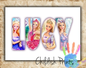 personalised BARBIE character name art gift idea printable - Digital Image Only