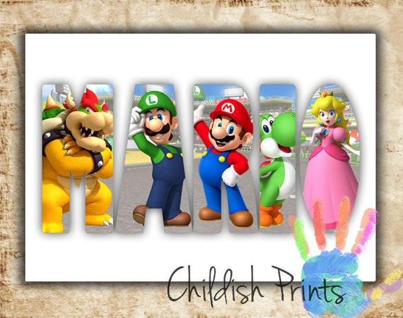 Personalised Super Mario Character Name Art Gift Idea Printable Mario Luigi Yoshi Bowser Princess Peach Toad