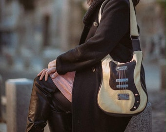 0ae80546678db Unusual Ivory Guitar Shaped Bag / Crossbody Handmade Guitar Bag / Punk Style  Purse / Bass Bag / Rock Clothing / Rocker Chic Handbags