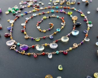 handmade gemstone jewelry necklace colourful
