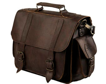 15 inch LEATHER LAPTOP BAG  - Leather Messenger Bag  100% Full Grain Leather in Dark Brown Color