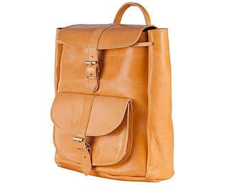 LEATHER BACKPACK - Leather Rucksack - College Backpack - LARGE Size