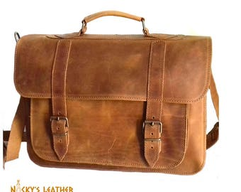 Leather MESSENGER BAG - 15 inch LAPTOP Bag  from 100% Full Grain Leather