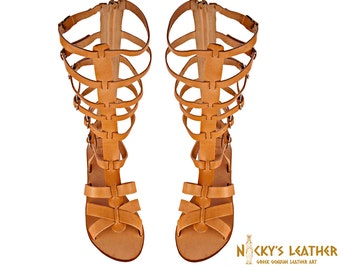 44b52628d2ee GLADIATOR SANDALS Knee High Boots in Natural color from Full Grain Leather
