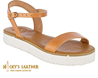 af43ca76eb580 CHUNKY PLATFORM SANDALS from Full Grain Leather in Natural Color