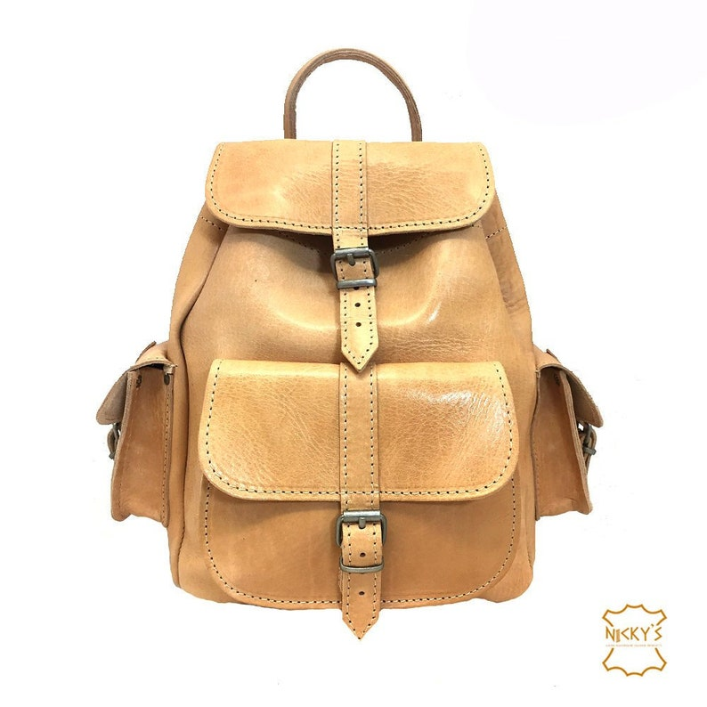 Full Grain Leather Backpack with 3 external pockets MEDIUM size in Light Brown color