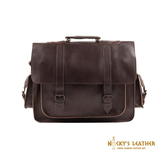 LEATHER MESSENGER BAG for 17 inch Laptop from 100% Full ...
