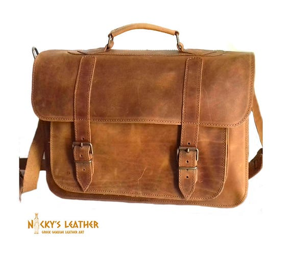 9c4f5d7419c Leren MESSENGER BAG 15 inch laptoptas van 100% volledige | Etsy