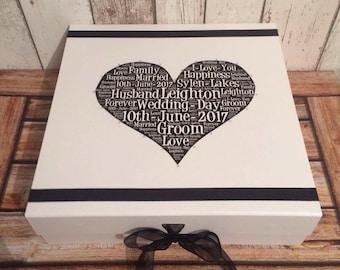 Personalisierte Bräutigam Hochzeit Andenken. Größe 30 cm x 30 cm x 9,5 cm