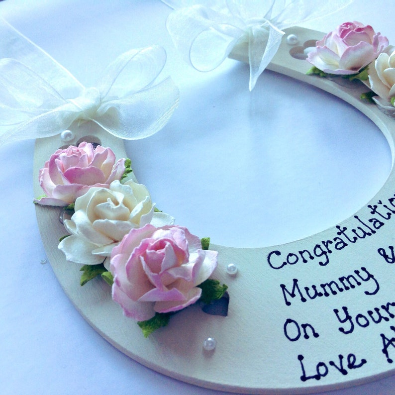 Personalised wedding horseshoe/_ lucky gift to Bride and Groom on Wedding Day.