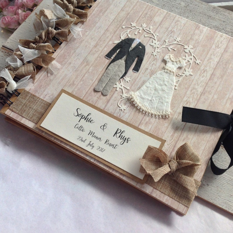 Personalised luxury scrapbook photo album guestbook Engagement Wedding