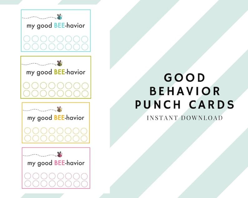 Printable Good Behavior Punch Cards Rewards Card INSTANT image 1
