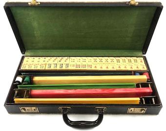 Vintage Mahjong Mah Jong Mah Lowe Bakelite Game Set 167 Tiles, 5 Marbled Bakelite Trays, Betting Coins, Butterscotch, Red, Yellow, Green,