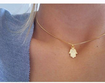 Fatima hand necklace etsy hamsa gold necklace hand of fatimahand of god gold plated hamsaeye necklace hamsa necklace gold eye necklace aloadofball Image collections