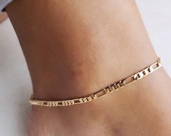 18k Gold Filled Figaro Anklet, Figaro Chain Anklet, Figaro Chain Ankle Bracelet, Anklet, Dainty Anklet , Gold Anklet,  Adjustable