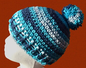 blue beanie hat, blue hat, knitted beanie, crochet beanie, knitted hat, crochet hat, bobble hat, pom pom hat