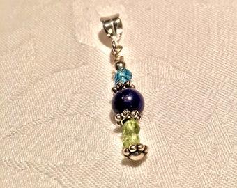 Lapis Lazuli, Peridot, Blue Topaz and Sterling Silver Pendant