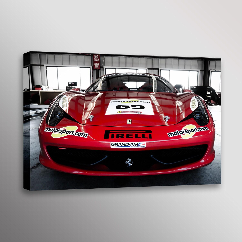 Red Ferrari: Red Ferrari 458 Italia In The Garage Racecar Car Photo