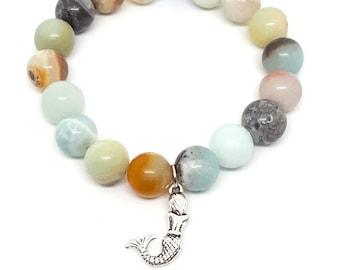 Unakite Mermaid Bracelet; 8mm Unakite Beads; Mermaid Charm; Siren Bracelet