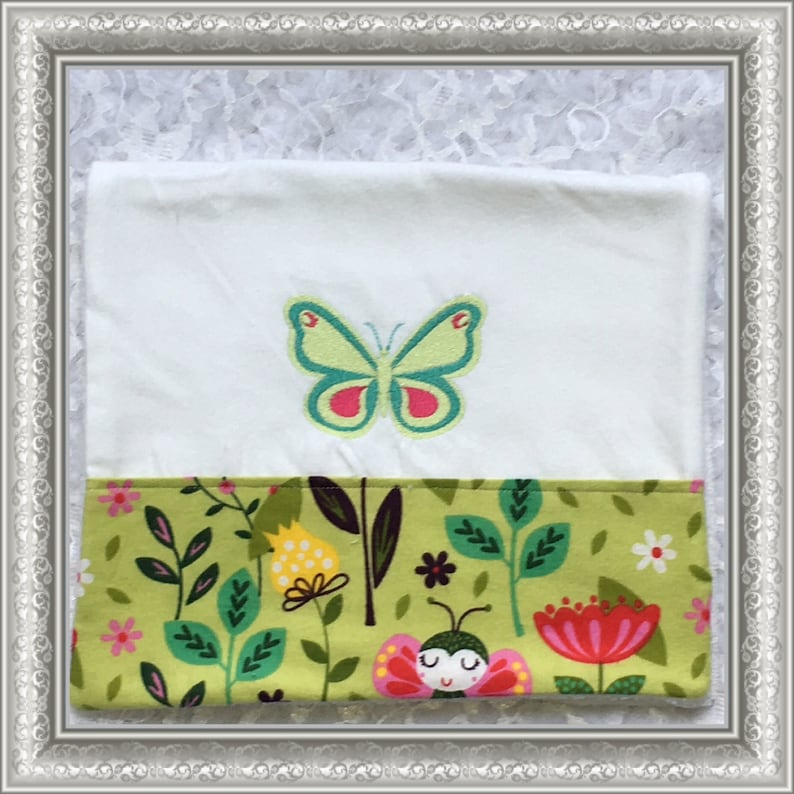 Pink and Green Butterfly Burp Cloths 3 Butterfly Embroidered Personalized Burp Cloths Boutique Burp Cloth Shower Gift Blue