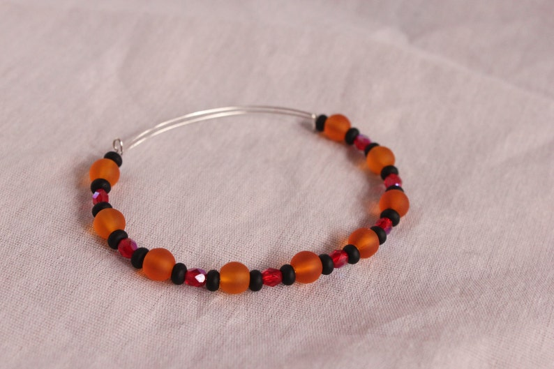 Autumn Glass Memory Wire Bracelet