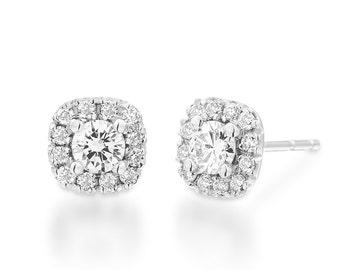 Diamond Earrings, Bridal Earrings, 14K Gold Earrings, Halo Earrings, 18K White Gold Earrings, Diamond Studs Earrings, Diamond Halo Earrings