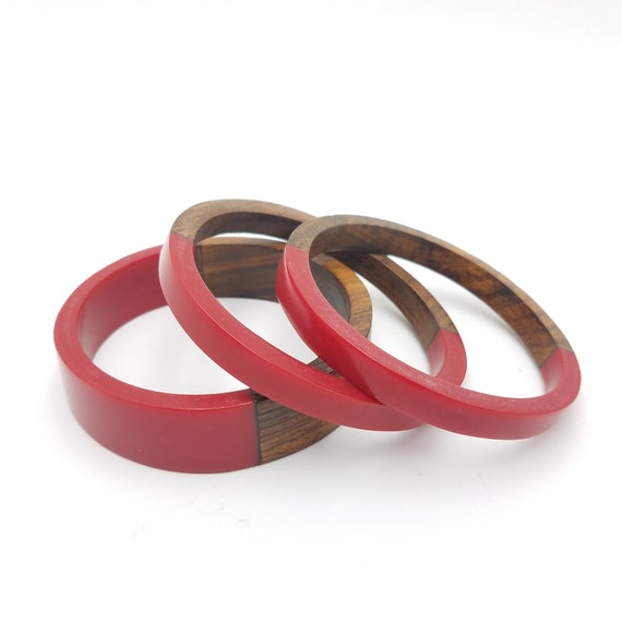 Vintage Style Jewelry, Retro Jewelry Wooden Lucite Bangle Sets - Vibrant Resin and Wooden Bangles - Set of 3 $13.50 AT vintagedancer.com