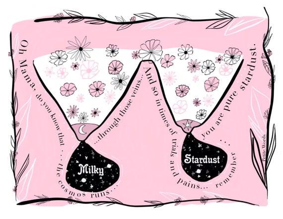 Custom Milky Stardust Boobies Print Personalised Breastfeeding Keepsake Mom Mum Illustration Milk Maker  New Mum Present