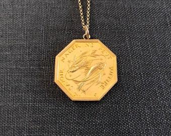 vintage french pisces zodiac sign amulet necklace