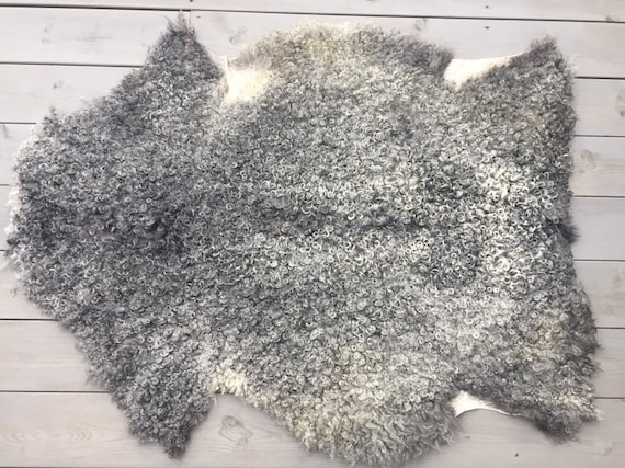 Large supersoft sheepskin exclusive rug beautiful Norwegian pelt sheep skin curly grey throw 19137