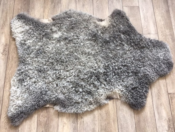 Supersoft sheepskin exclusive rug beautiful Norwegian pelt sheep skin curly grey throw 19026