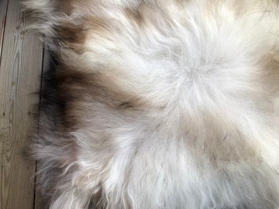long haired pelt sheepskin rug spael sheep throw white brown grey - 20092