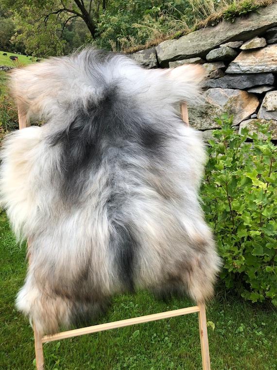 long haired pelt sheepskin rug spael sheep throw grey brown white 21232