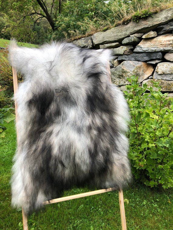 XL long haired pelt sheepskin rug spael sheep throw grey brown 21225