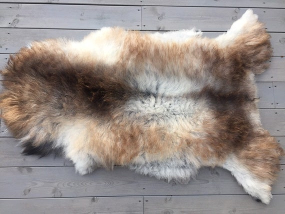 Real natural Sheepskin rug supersoft pelt rugged throw from Norwegian norse breed medium locke length sheep skin brown grey 19131