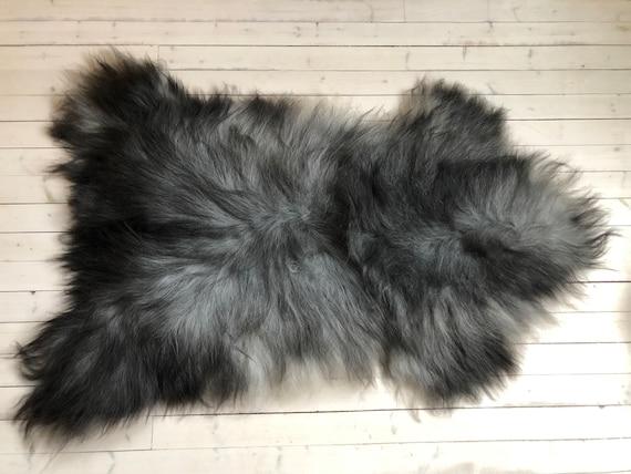 Norse Sheepskin natural rug supersoft pelt rugged throw from Norwegian breed sheep skin grey black 21065