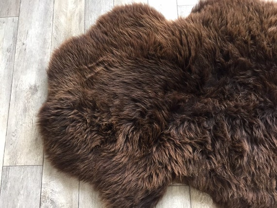 Waterproof Sheepskin rug soft pelt real sheep skin brown