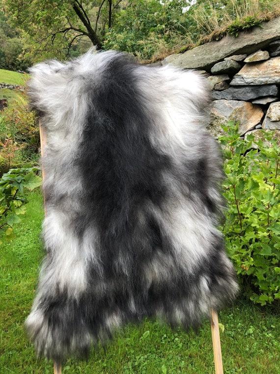 long haired pelt sheepskin rug spael sheep throw grey brown 21229