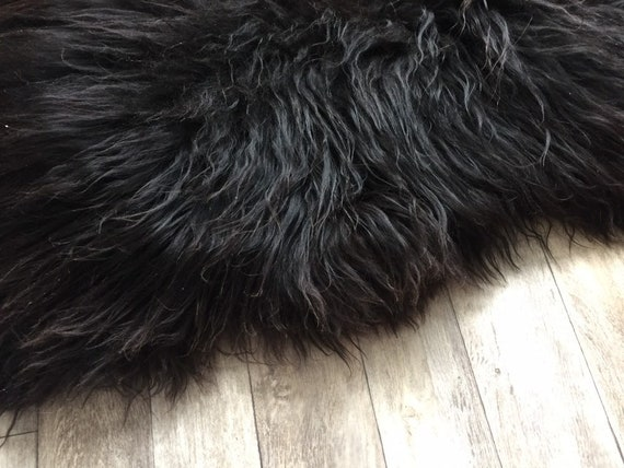 Long haired Sheepskin natural rug supersoft pelt rugged throw from Norwegian breed sheep skin black dark brown 19062