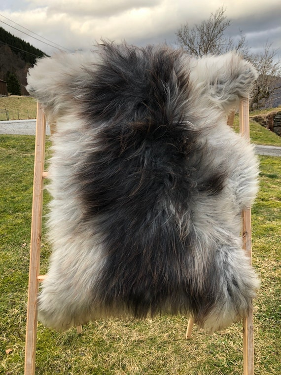 Norse Sheepskin natural rug supersoft pelt rugged throw from Norwegian breed small sheep skin grey brown 21140