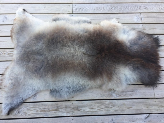 Real natural Sheepskin rug supersoft pelt rugged throw from Norwegian norse breed medium length hair sheep skin grey gray brown 18104
