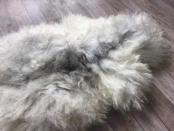 Long haired, large sheepskin rug spael sheep throw pelt grey gray white yellow brown19067
