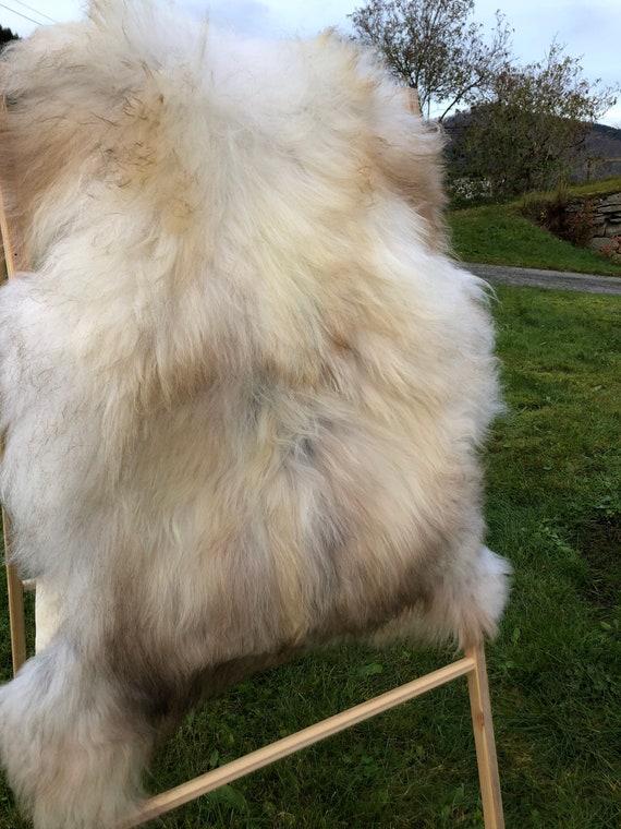 long haired pelt sheepskin rug spael sheep throw brown grey 20108
