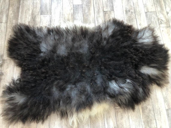 XL Beautiful pelt Long haired Sheepskin natural rug supersoft pelt rugged throw from Norwegian breed sheep skin grey brown 21008